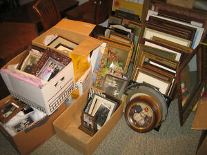 Assorted pictures and picture frames