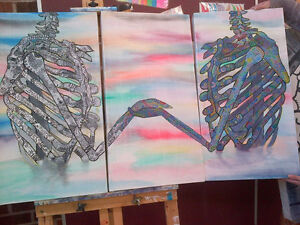 Triptych Skeleton Painting