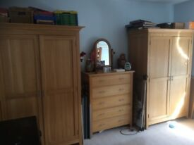 2 Solid wood wardrobes and matching chest of draws