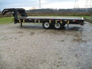 P J  5 th wheel trailer 28 ' with 20' wooden plank deck.
