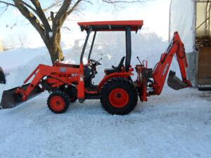 tracteur, 4x4, loader, backhoe, pépine, souffleur, kubota, b21,