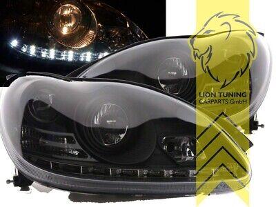 LED Tagfahrlicht Optik Scheinwerfer für Mercedes Benz W220 S-Kl schwarz XENON