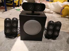 Logitech x-530 computer 5.1 channel surround sound gaming speakers