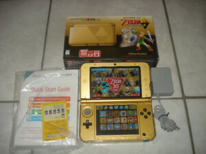 Gold Zelda 3DS XL CIB w/Charger & 3000+ Games!