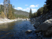 Placer gold claim on Similkameen river by Bromley Rock