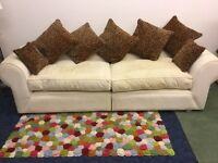 Lovely Set Of 2 Matching Cream/White Fabric Sofa's For Sale