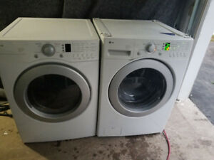 """lg white 27"""" front load glass washer electric dryer stack able"""