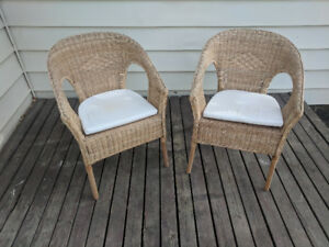 Wicker patio chairs. Matching set, in great condition.