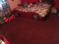 Boys wooden car bed