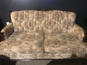Vintage floral loveseat and chair