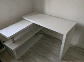 Strong thick Wooden white Swivel Desk!