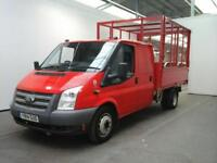 2014 FORD TRANSIT 350 TDCI 125 LWB DOUBLE CAB ALLOY TIPPER WITH CAGED DRW RWD TI