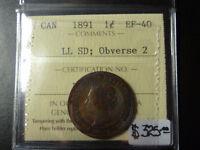 Monnaie 1¢ 1891 LL SD Obv2 EF-40 Iccs Laval / North Shore Greater Montréal Preview