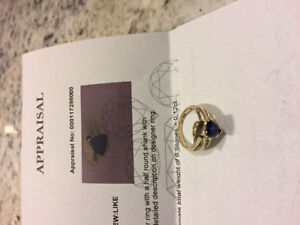 Gold ring with blue gemstone and diamonds