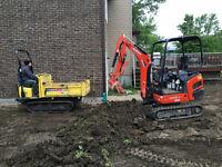 Service de mini excavation, nivelage, etc - Le King du Gazon