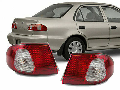 JDM Red / Clear Rear Outer Pair Rear Brake Tail Lights for 98-02 Toyota Corolla 02 Toyota Corolla Tail Light