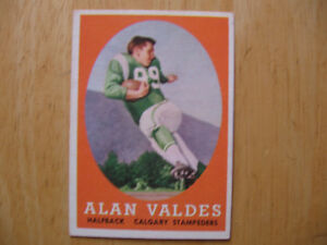 1958 TOPPS CFL FOOTBALL CARD-ALAN VALDES ROOKIE,CALGARY