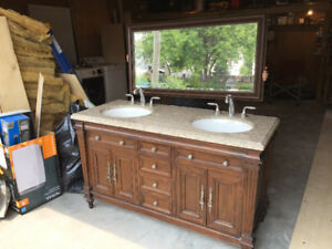 "60"" Solid Wood Vanity with Granite Counter Top with Double Sink"