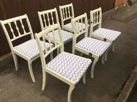 SET OF 6 WOOD DINING CHAIRS SHABBY CHIC PROJECT ** FREE DELIVERY AVAILABLE TODAY **