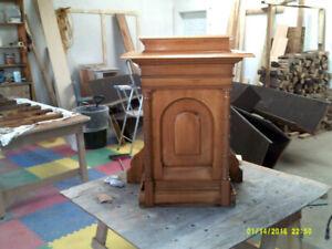 Refinished Solid Oak Podium
