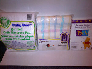 Crib Mattress Pad, Thermal + Receiving Blankets NEW NOT OPENED