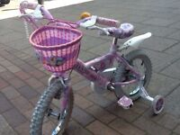 """Kids Bike - Raleigh Mini Miss 14"""" with stabilizers and a pink helmet"""