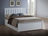WHITE AND PINE OAK FINISH- -NEW DOUBLE/KING SIZE WOODEN OTTOMAN STORAGE BED WITH MEMORY MATTRESS