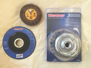 WIRE CUP BRUSH, FLAP WHEELS, CUT OFF WHEELS. WESTWARD DEWALT