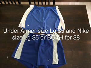 Under Armer and Nike shorts