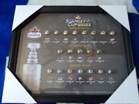 Complete set of Molson Stanley Cup Rings Factory Framed