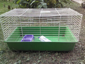 """Large rabbit cage used + water bottle and food dish, 31"""" x 18"""""""
