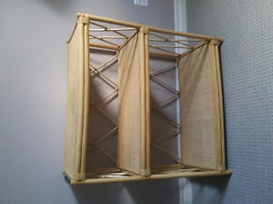 Bamboo and wickers three shelves bookcase stand display rack