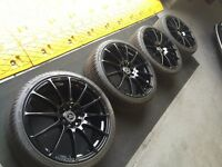 WOLFRACE EUROSPORT RACE PRO LITE 18 ALLOYS WITH TIRES NEWLY REFURBISHED AND POWDER COATED