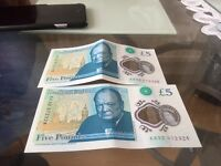 £5 note x2 AA