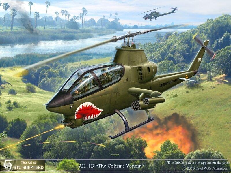 ART PRINT: AH-1 Cobra in the Grass - Print by Shepherd