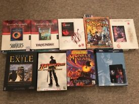 PC GAMES BOXED INCLUDING MONKEY ISLAND GAMES AND MYST