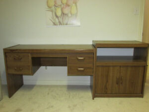 Office desk with matching side printer/storage table