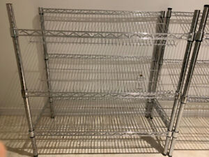 STURDY - Slanted Chrome Wire Inventory Shelving - Adjustable
