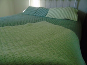 "Eddie Bauer 88""x 92"" QUILTED COTTON BED SPREAD and PILLOW SHAMS"