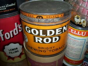 vintage Golden Rod Bright Chewing Tobacco 10 cents Tin