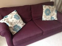Three piece suite aubergine colour. 3 seater, 2 seater and armchair