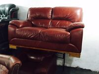 Free delivery 🎅 red leather 2 and 1 sofa set