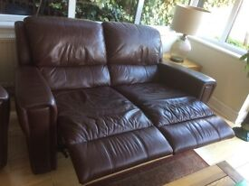 DFS two seater leather recliner