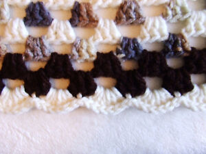 Beautiful Hand Crocheted Afghan #2 - White & Brown Tones - $50 Belleville Belleville Area image 7