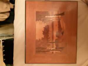 The Birches classic 70s Wood Art/Marquetry picture great shape