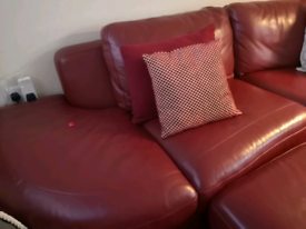 Leather sofa, and footstool