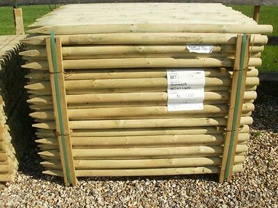 20 x 1.2m 4ft 50mm 15 yr guarantee treated round wooden fence posts wood stakes