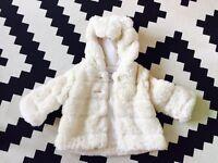 Baby Gap Girls faux fur Coat aged 6-12 months