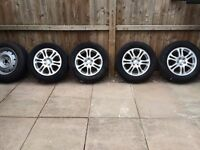 "Subaru set of 4 16"" alloy wheels & tyres with spare"
