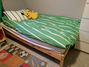 Twin wooden bed frame and mattress